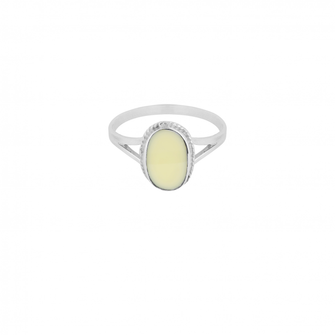 Oval Souvenir Ring Ivory Silver