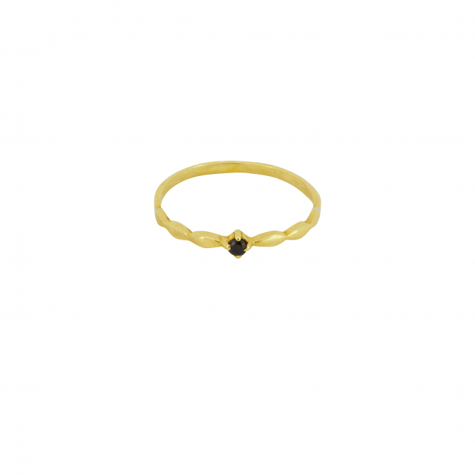 Keepsake Ring Onyx Goldplated