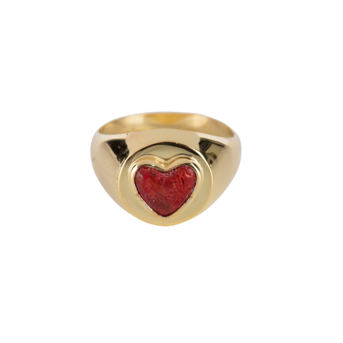 Red Heart Ring Gold Plated