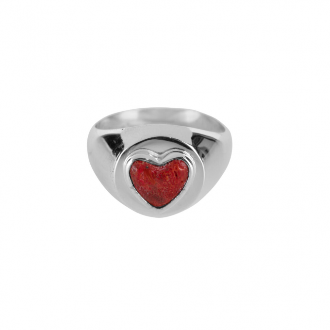 Red Heart Ring Silver