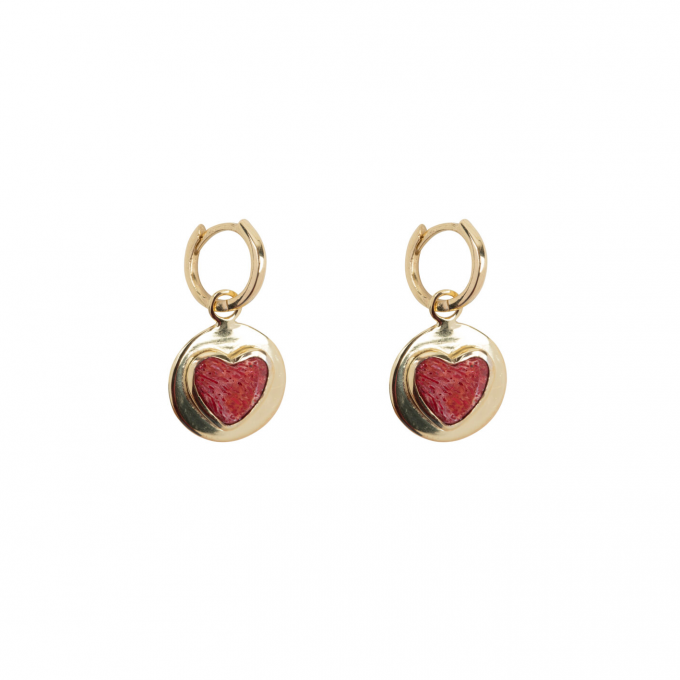 Red Heart Small Hoop Earring Gold Plated