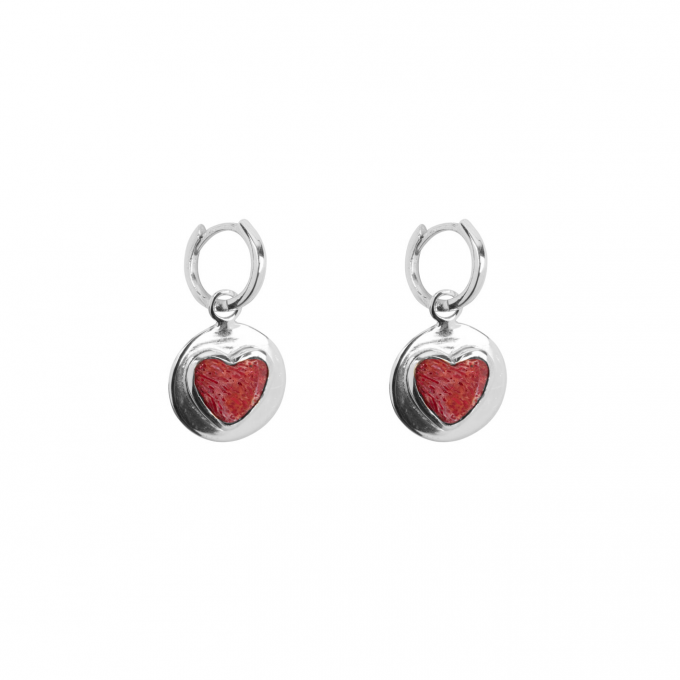 Red Heart Small Hoop Earring Silver