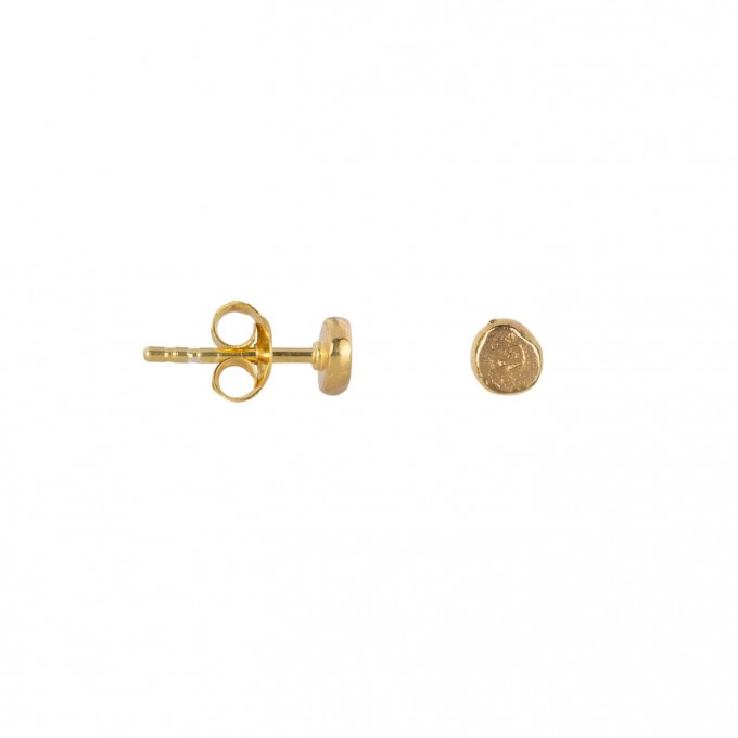 Round Gold Bar Stud Earring Gold