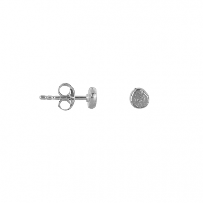 Round Gold Bar Stud Earring Silver