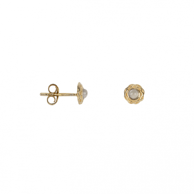 Small Curly Edge Moonstone Stud Earring Gold Plated