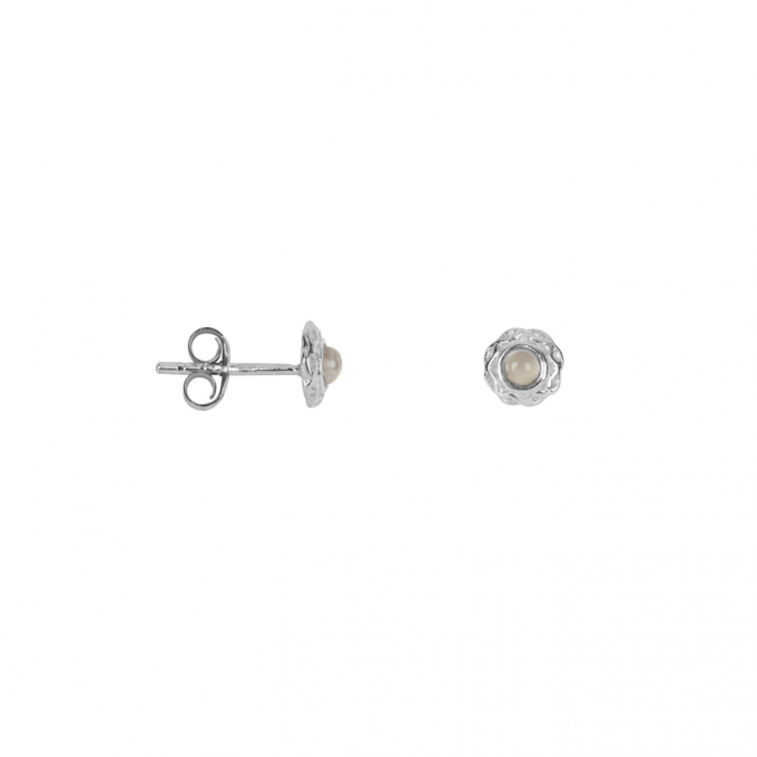 Small Curly Edge Moonstone Stud Earring Silver