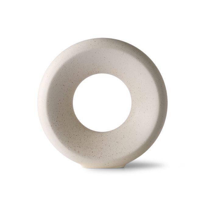 Ceramic Circle Vase M - White Speckled