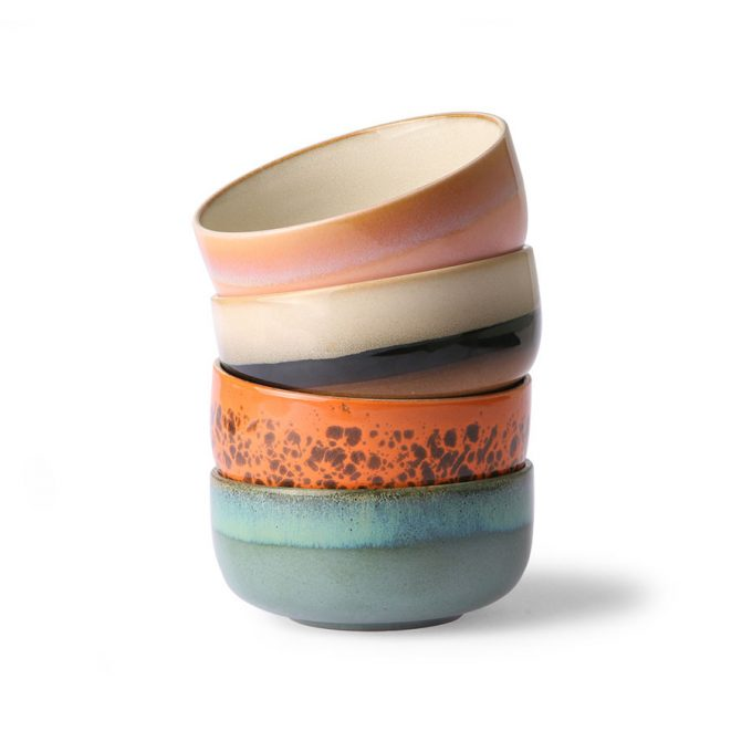 Ceramic 70's Dessert Bowls Set of 4
