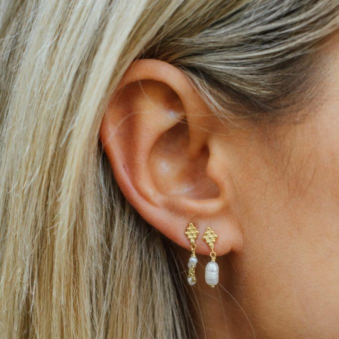 Dotted Wieber Pearl Stud Earring Goldplated
