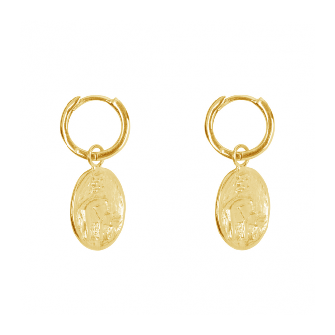 Elephant Small Hoop Earring Gold Plated
