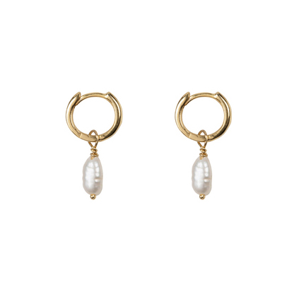 Small Hoop Pearl Earring Gold Plated