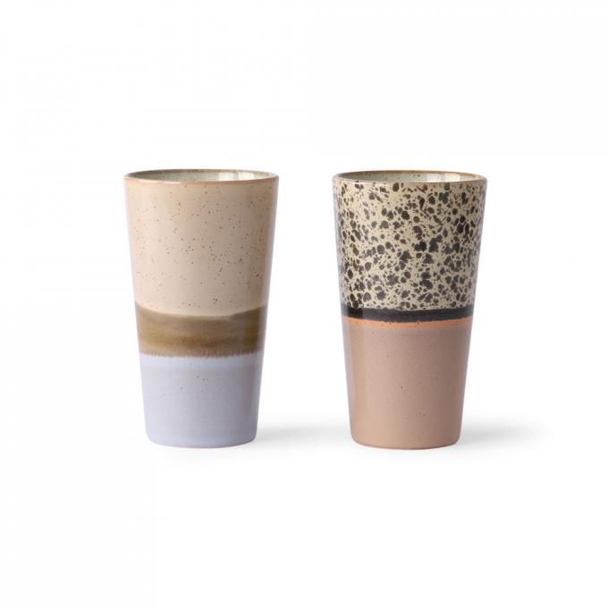 Ceramic 70's Latte Mugs Set of 2