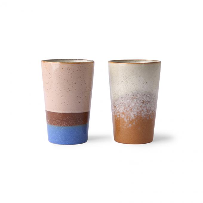 Ceramic 70's Tea Mugs Set of 2