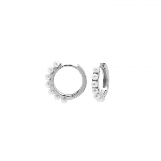Plain Hinged Hoops Pretty Pearls 13MM Silver