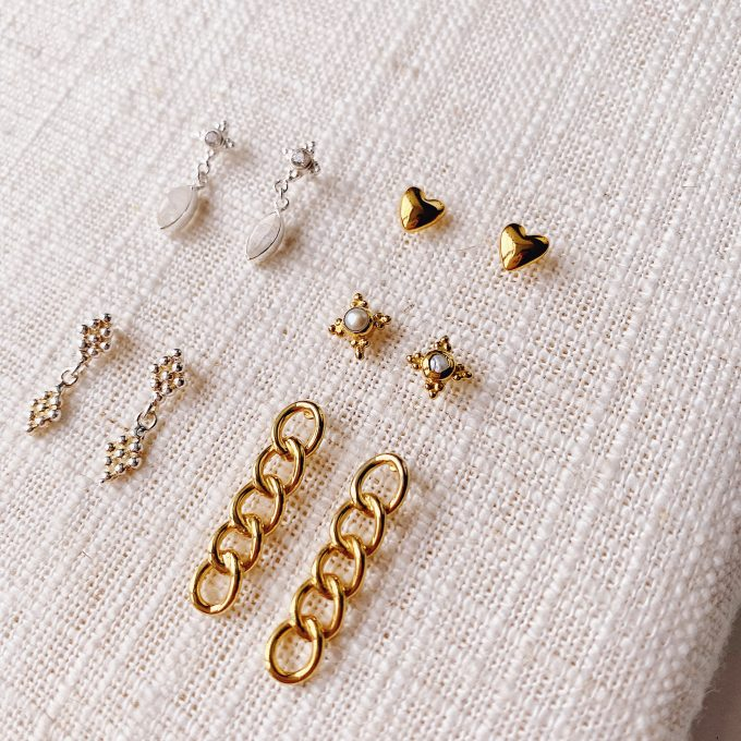 Heart studs goldplated
