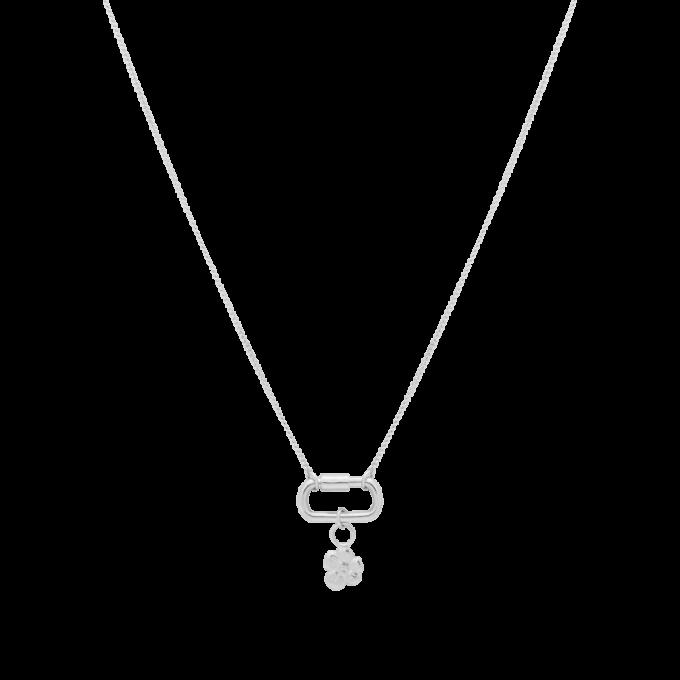 Locked Soul Flower Necklace Silver