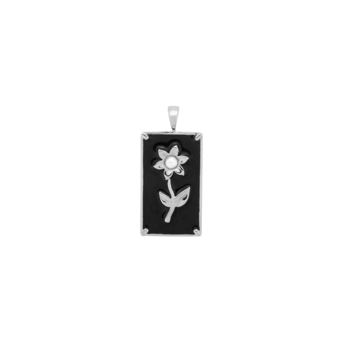 Marigold Flower Necklace Charm Silver