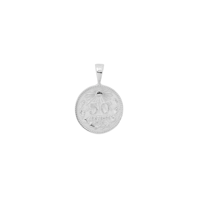 Peso Coin Necklace Charm Silver