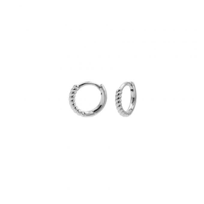Plain Hinged Hoops Half Twisted 10MM Silver