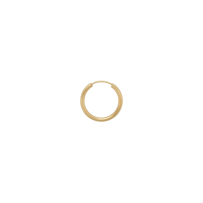 Single Thick Plain Ring Earring L Goldplated