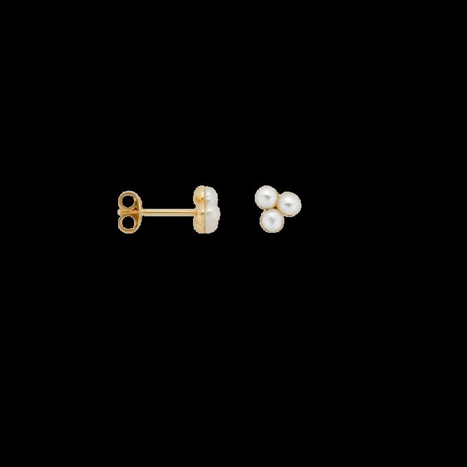 Single Triple Pearl Stud Earring Goldplated
