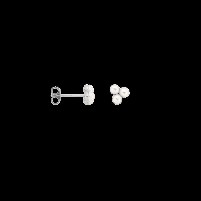 Single Triple Pearl Stud Earring Silver