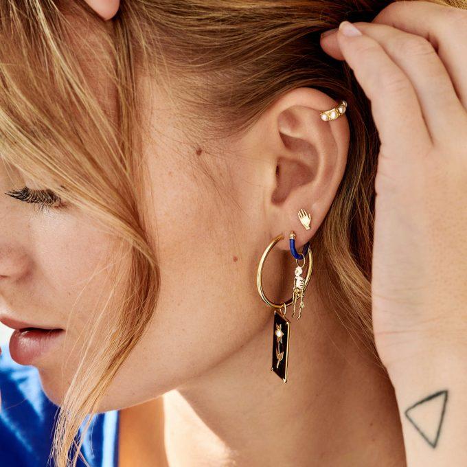 Single Thick Plain Ring Earring XXL Silver