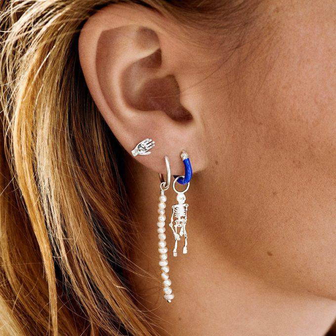Single Pearl Rain Ring Earring Silver