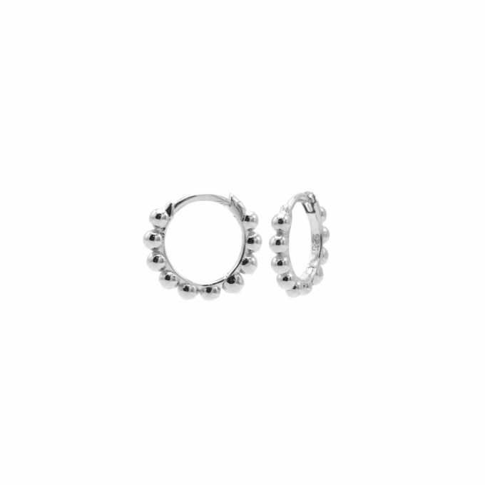 Plain Hinged Hoops Dots Silver 10MM
