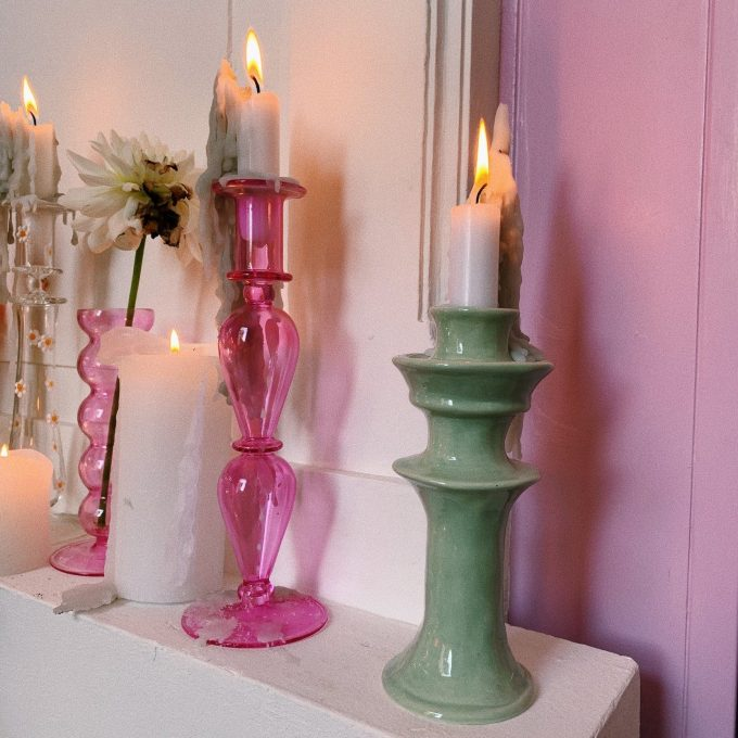 Ceramic Candle Holder in Pistachio Green