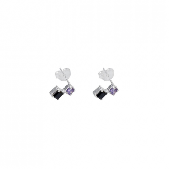 Tiny black/purple stud Silver