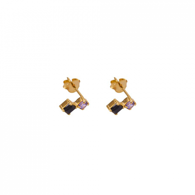 Tiny black/purple stud Gold plated