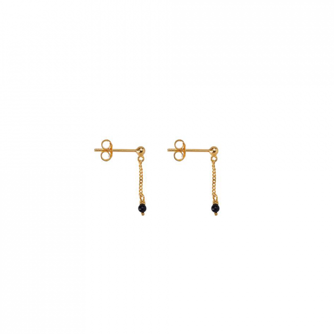 Oorbellen Onyx chain Gold plated
