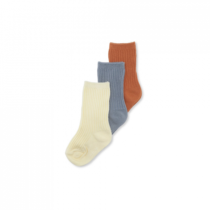 3 Pack Rib Socks Biscuit/Quarry Blue/ Lemon Sorbet
