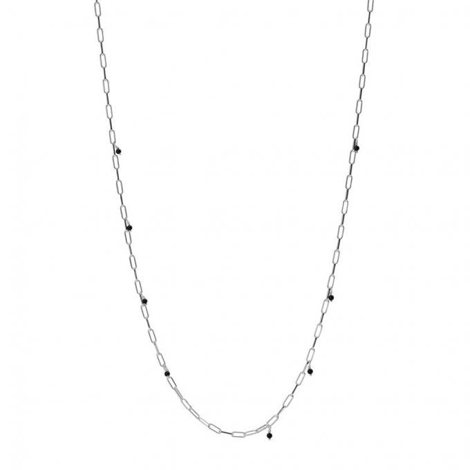 Necklace Tiny onyx Silver