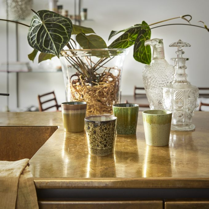 70s ceramics: coffee mugs, spring greens (set of 4
