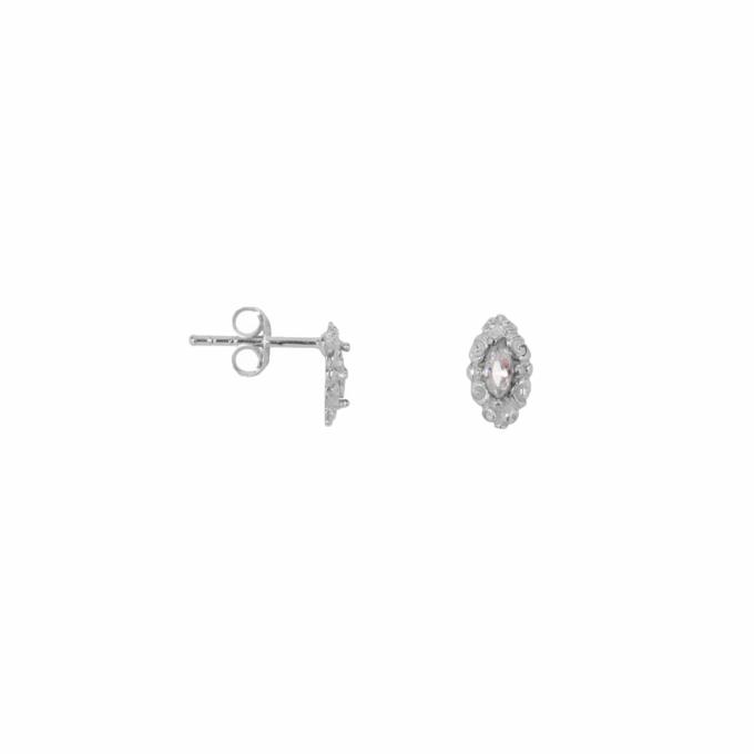 Antique Drop Stud Earring Silver