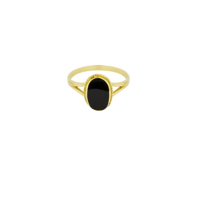 Oval Souvenir Ring Black Goldplated