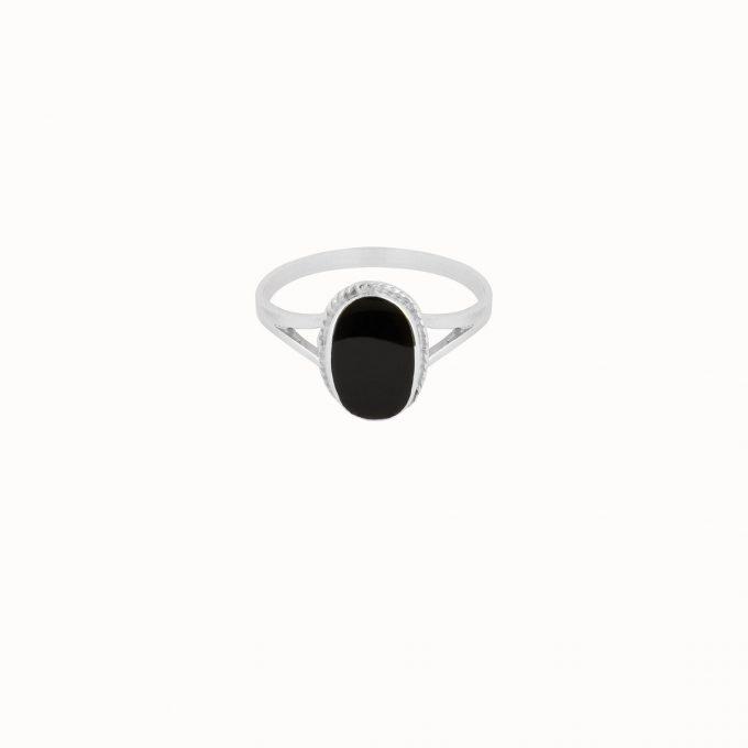 Oval Souvenir Ring Black Silver