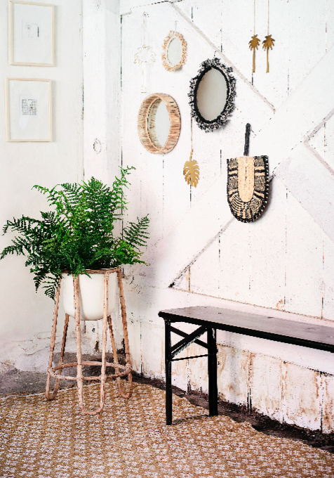 round mirror with bamboo