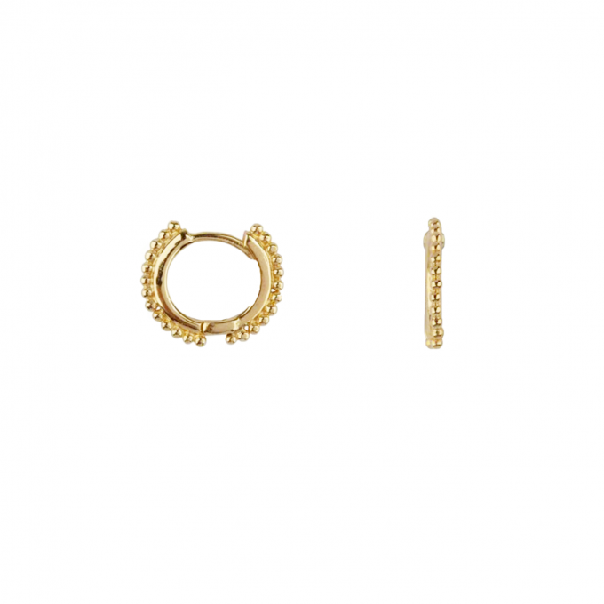 Balls on a small Hoop Earring Goldplated