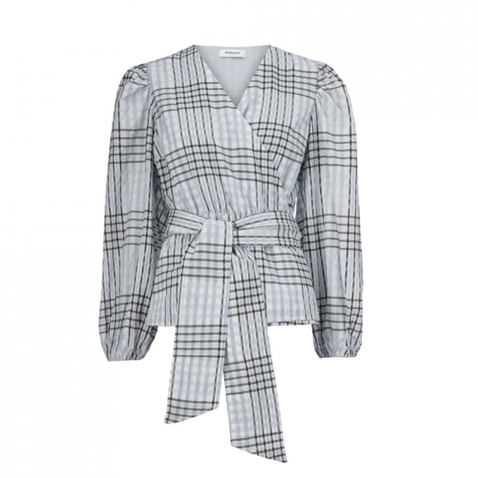 Taia Wrap Top - Pale Blue Check