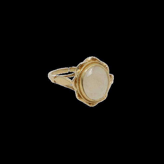 Vintage Gold Oval Ring White Quartz