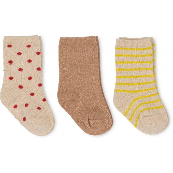 3 Pack Lurex Socks - Naturel