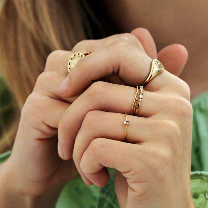 Magical Topaz & Sapphire Baguette Ring 14K