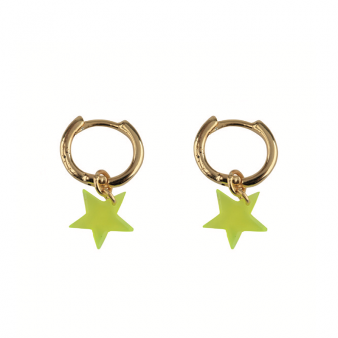 Small Hoop Resin Star Goldplated - Yellow