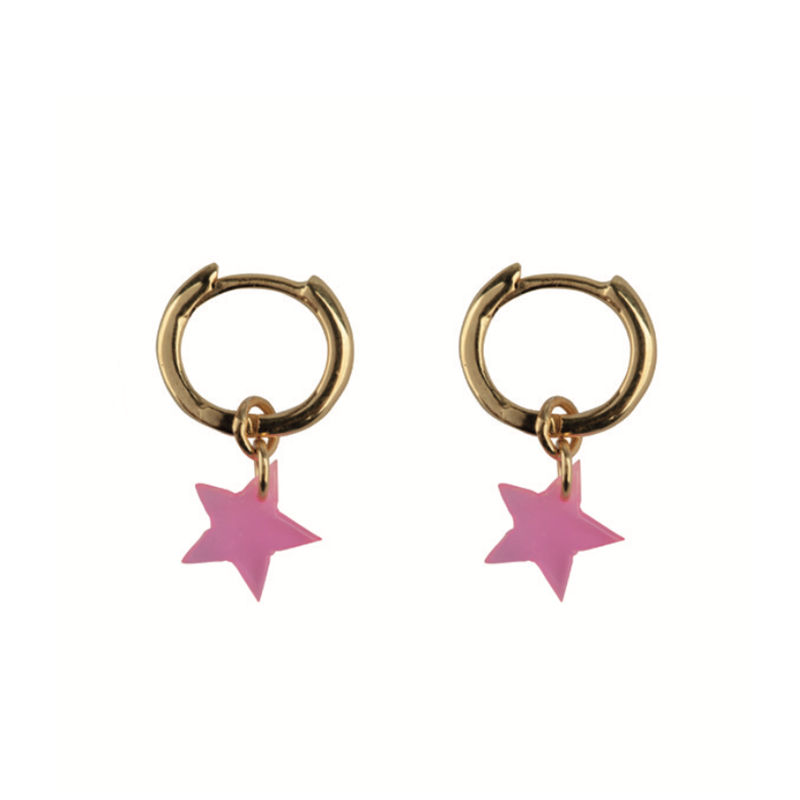 Small Hoop Resin Star Goldplated - Pink