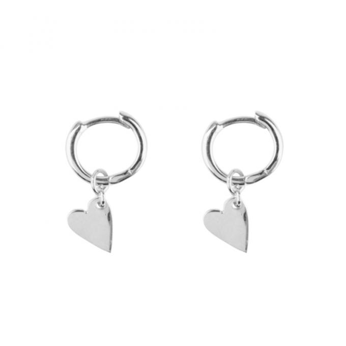 Small Hoop Heart Earring Silver