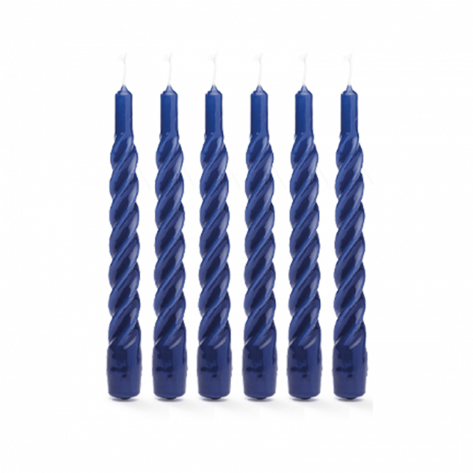 Blue Twisted Candle Set of 6