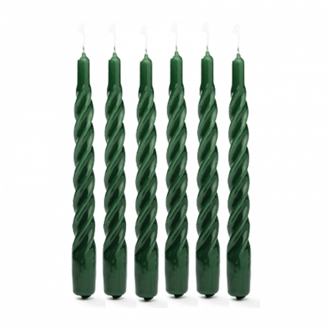 Dark Green Twisted Candle Set of 6